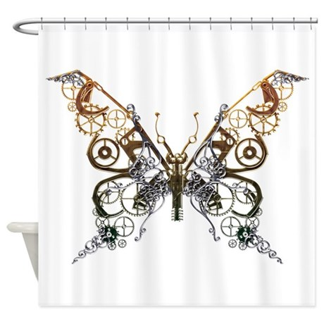 Industrial Butterfly Shower Curtain By Serendipity Uk