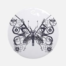 Silver Industrial Butterfly Ornament (Round)