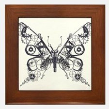 Silver Industrial Butterfly Framed Tile