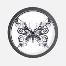 Silver Industrial Butterfly Wall Clock