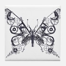 Silver Industrial Butterfly Tile Coaster