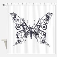 Silver Industrial Butterfly Shower Curtain