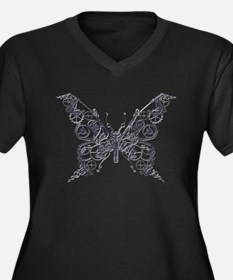 Silver Industrial Butterfly Plus Size T-Shirt
