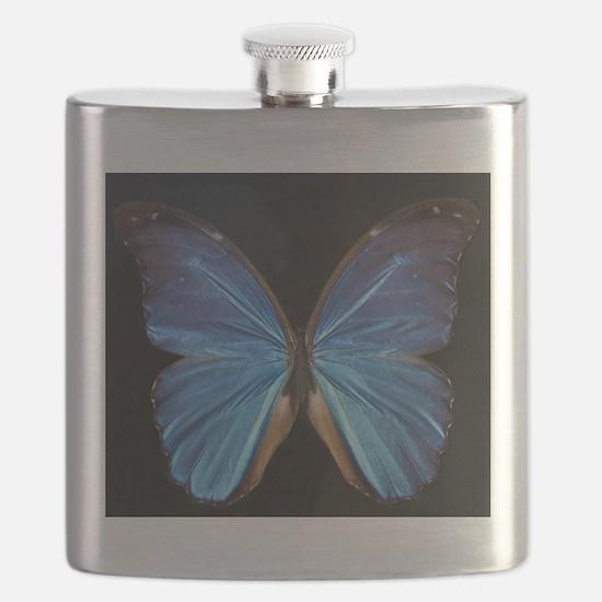 Elegant Blue Butterfly Flask
