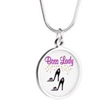 #1 BOSS LADY Silver Round Necklace