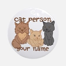 Personalized Cat Person Ornament (Round)