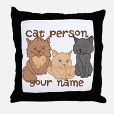 Personalized Cat Person Throw Pillow