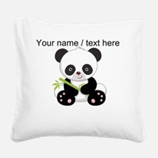 Custom Panda With Bamboo Square Canvas Pillow