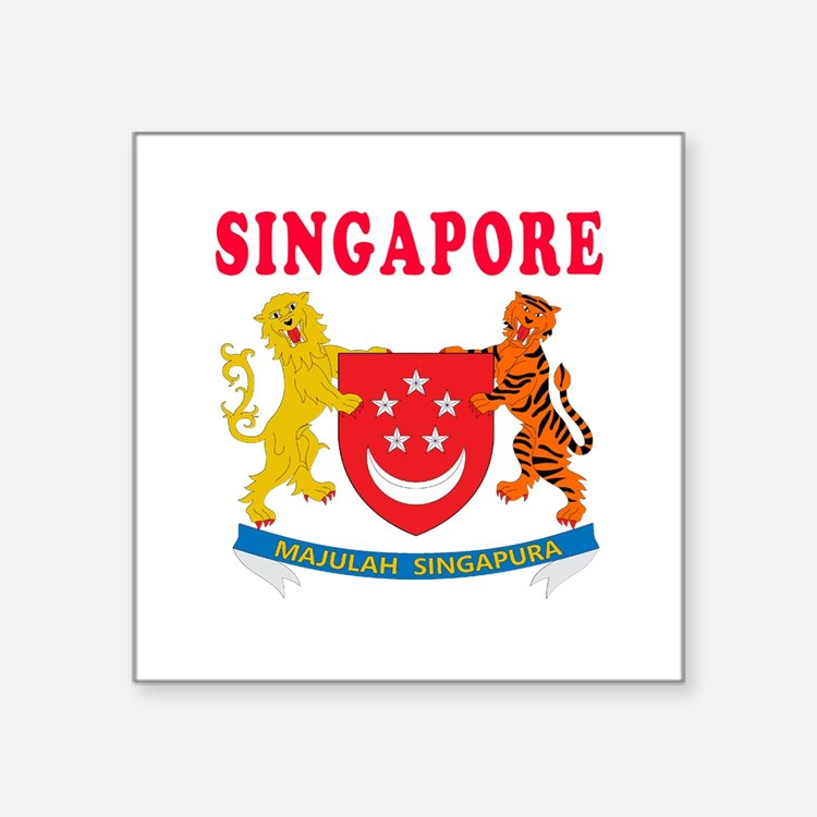 "Singapore Coat Of Arms Designs Square Sticker 3"" x"