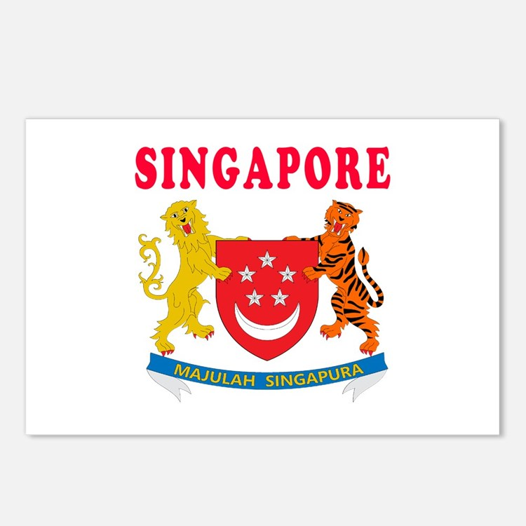 Singapore Coat Of Arms Designs Postcards (Package
