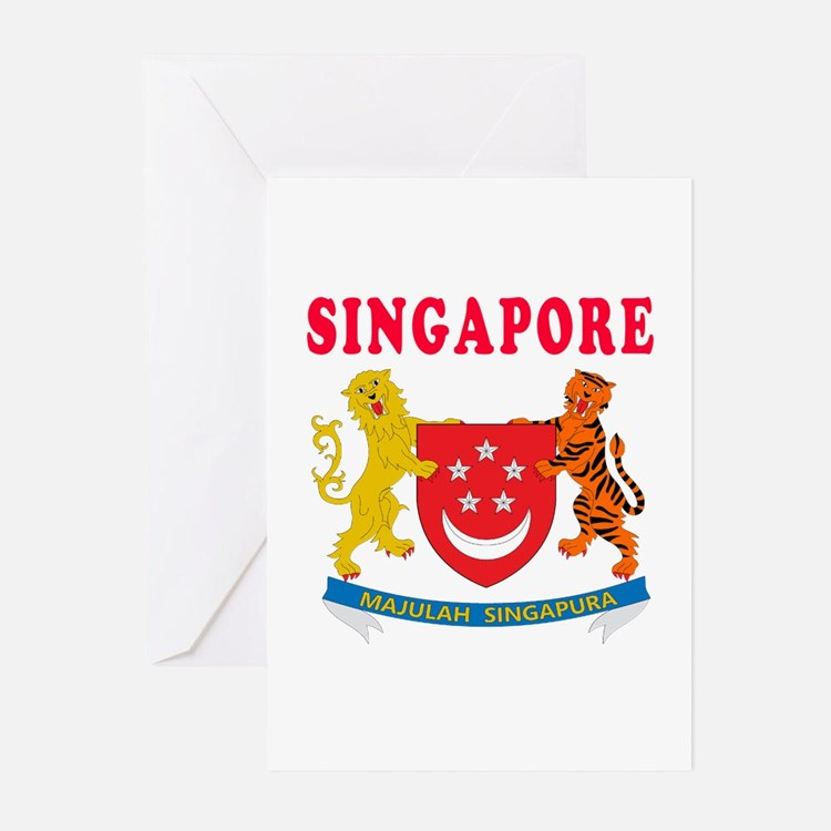 Singapore Coat Of Arms Designs Greeting Cards (Pk