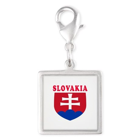 Slovakia Coat Of Arms Designs Silver Square Charm