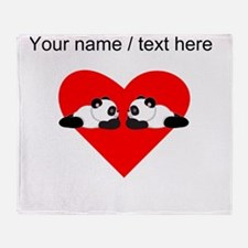 Custom Cute Pandas Heart Throw Blanket