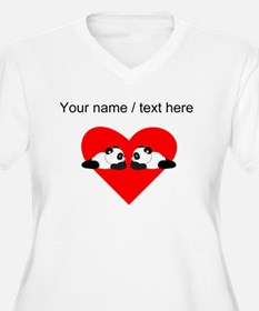 Custom Cute Pandas Heart Plus Size T-Shirt