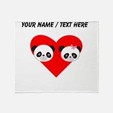 Custom Panda Boy And Girl Heart Throw Blanket