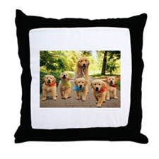 Mommy Walking Puppies Throw Pillow