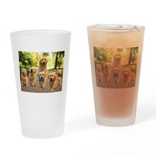 Mommy Walking Puppies Drinking Glass