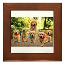 Mommy Walking Puppies Framed Tile