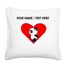 Custom Cute Panda Heart Square Canvas Pillow