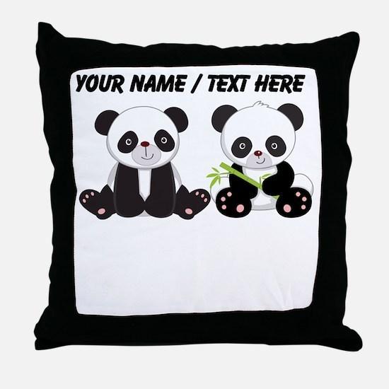 Custom Cute Pandas Throw Pillow