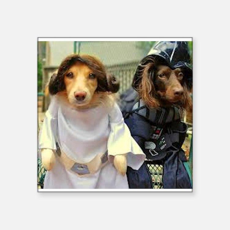 Princess Leia and Darth Vader Doggies Sticker
