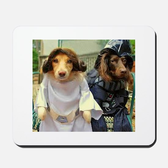 Princess Leia and Darth Vader Doggies Mousepad