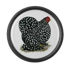 Cochin Black Mottled Hen Large Wall Clock