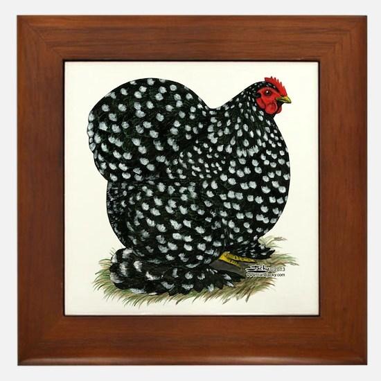 Cochin Black Mottled Hen Framed Tile