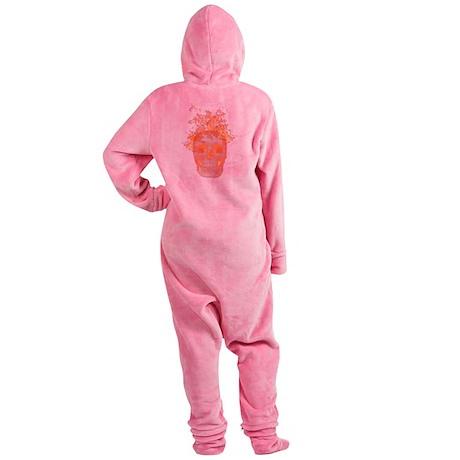 Orange Fire Skull Footed Pajamas