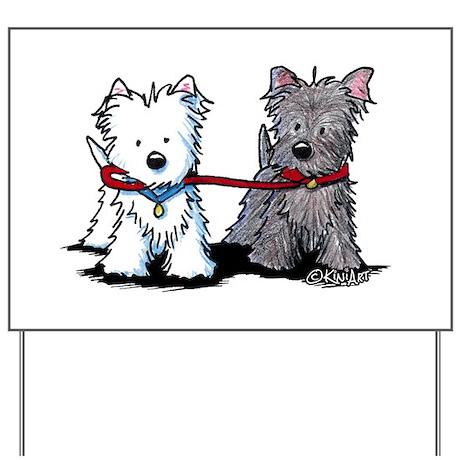 Terrier Walking Buddies Yard Sign