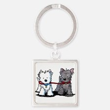 Terrier Walking Buddies Square Keychain