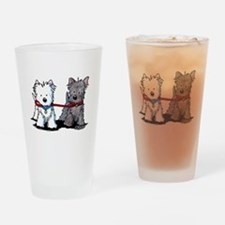 Terrier Walking Buddies Drinking Glass
