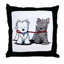 Terrier Walking Buddies Throw Pillow