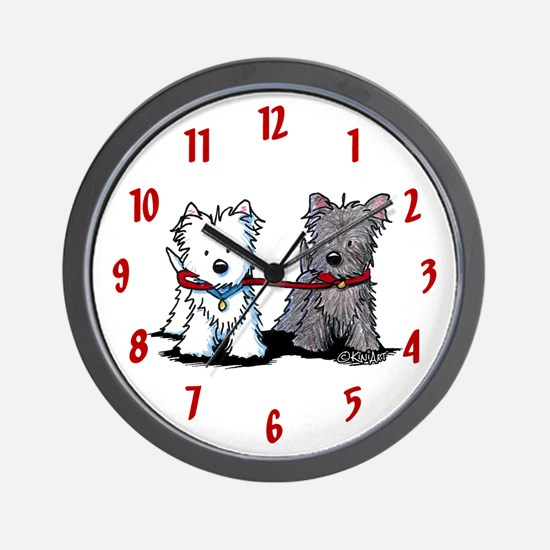 Terrier Walking Buddies Wall Clock