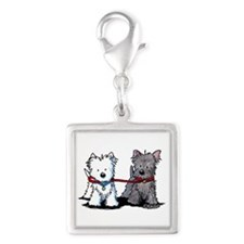 Terrier Walking Buddies Silver Square Charm