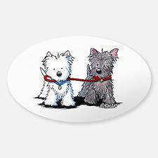 Terrier Walking Buddies Sticker (Oval)
