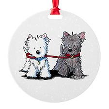 Terrier Walking Buddies Round Ornament