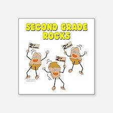 """Second Grade Rocks Square Sticker 3"""" x 3"""""""