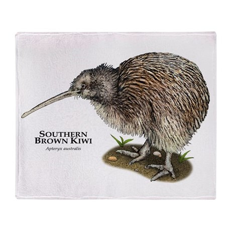 Southern Brown Kiwi Throw Blanket