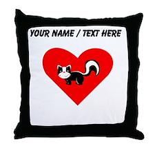 Custom Skunk Heart Throw Pillow