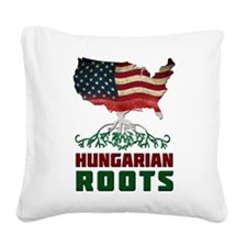 American Hungarian Roots Square Canvas Pillow