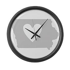 Heart Iowa Large Wall Clock