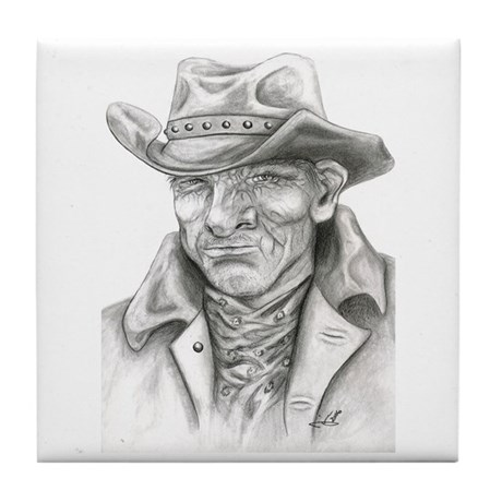Cowboy Drawing Facial Illusion original artwork by Janice Moore, Unique Gifts For Men