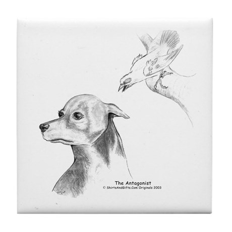 The Antagonist, Doberman And Catbird Drawing Art Prints original fine art by Janice Moore