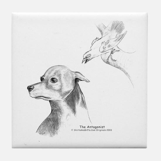 Paranoid Doberman Tile Coaster