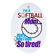 Softball Mom Oval Ornament