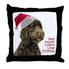 Santa Labradoodle Throw Pillow