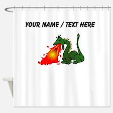 Custom Green Dragon Blowing Fire Shower Curtain