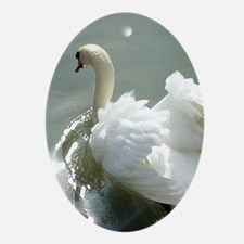 Beautiful white swan Ornament (Oval)