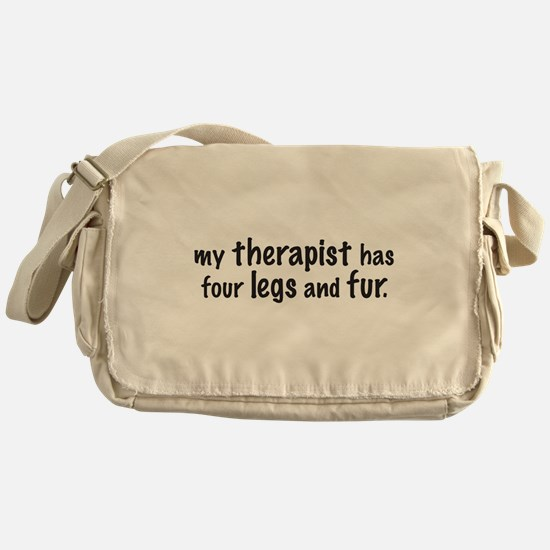 My therapist has four legs and fur. Messenger Bag